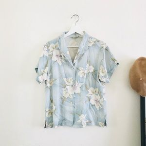 Tommy Bahama Tropical Print Button Down Silk Top